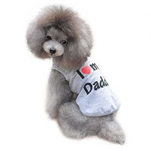 Ducomi® Pets Love - Camiseta para Perro y Gato de Algodón (L, I Love my Daddy)