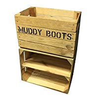Wooden Boot Rack & Shoe Shelf - Rustic Crate Box Units - Welly Wellie Boots - Combo Bundle - Shoe Cupboard Tidy Organizer - Custom Size - Muddy Boots Stenciled