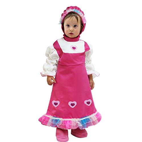 Vestito costume maschera di carnevale bimba piccola cuoricina - masha e orso - taglia 5/6 anni - 88 cm