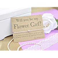Flower Girl Wish Bracelet, Will You Be My Flower Girl, Bridesmaid Proposal, Wish Bracelet and Gift Card, Choice of Cord Colour.