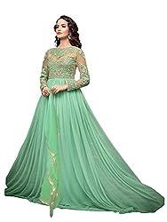 Fashion Dream Women's Net Gown (A--Cyan Gown_CyanFree Size)