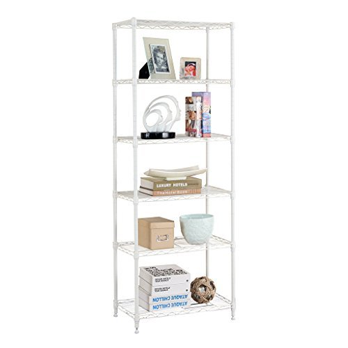 LANGRIA 6 Tier Modern Storage Organization Rack and Shelving Set with 5 Hooks, 66.1lbs Capacity, White