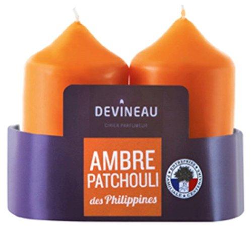 DEVINEAU 1608624 Bougie Moyen Modèle Ambre Patchouli des Philippines Orange Lot de 2