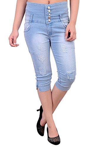 Blinkin SlimFit High-Waist Distressed Capri Jeans for women (Stretchable Denim Fabric )waist size 28 30 32 34 36 38