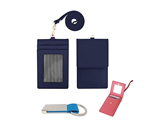 genuine-leather-credit-card-holder-wallet-with-mirror-id-badge-case-with-neck-strap-keychain-navy