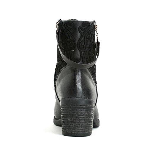 OBSEL: by Scarpe&Scarpe - Bottines hautes avec broderies, à Talons 5 cm Noir
