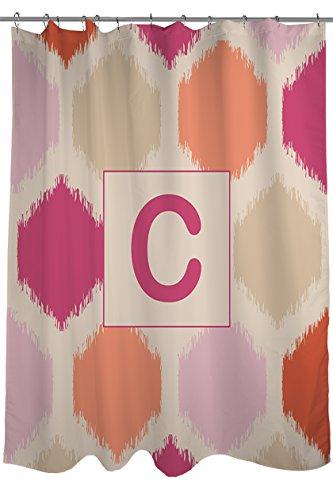 Manuelle holzverarbeiter & Weavers Vorhang für die Dusche, Monogramm Buchstabe C, Pink Batik (Teen-schlafzimmer-vorhänge Mädchen Für)