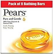 Pears Pure & Gentle Moisturising Bathing Bar Soap with Glycerine For Golden Glow 125g (Pack o