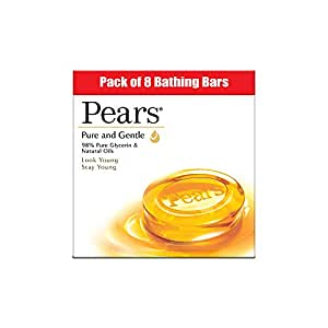 Pears Pure & Gentle Moisturising Bathing Bar Soap with Glycerine For Golden Glow 125g (Pack of 8)