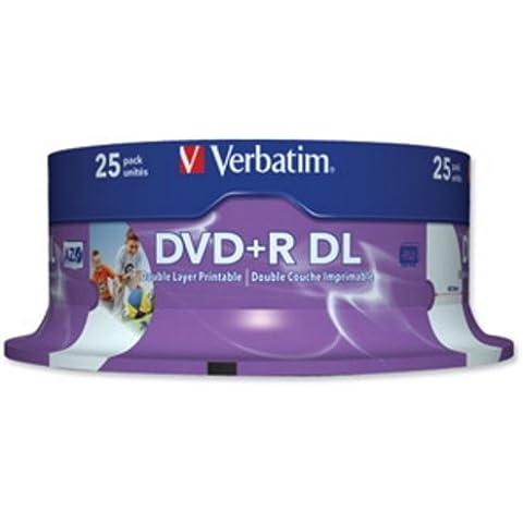Tarrina de Discos Regrabables Verbatim DVD+R Doble Capa Imprimible 8x 240min 8.5Gb Ref 43667 [Pack