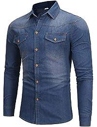 9fc8be049fd7c7 Cotangle Schlankes und vielseitiges gewaschenes Jeanshemd für Herren Casual  Langarmhemd (Farbe   C1