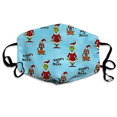 Vbnbvn Face Mouth Mask,Christmas Naughty Or Nice Mask Black Gray Face Mask - Dust Mask, Allergy Mask - Comfortable, Reusable - Protection from Dust, Pollen, Allergens, Flu Germs