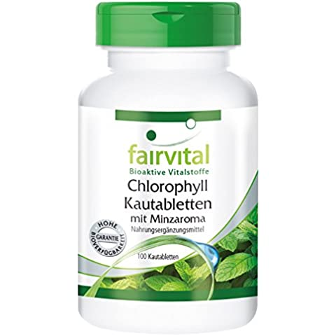 Fairvital - Pastiglie da masticare alla clorofilla aromatizzate alla menta - 100 pastiglie vegetali