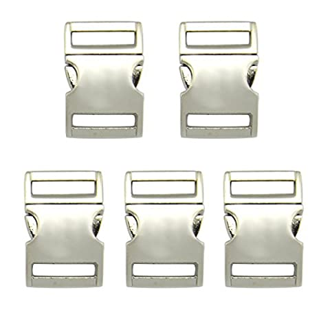 Easywisdom 5PCS 3/4 Inch (20mm) Silver Color Flat Side Release
