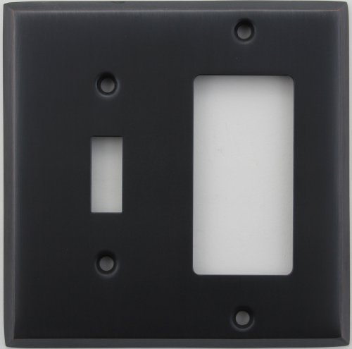 Light Switch Wall Plate (Classic Accents Stamped Steel Oil Rubbed Bronze Two Gang Wall Plate - One Toggle Light Switch Opening One GFI/Rocker Opening by Classic Accents)
