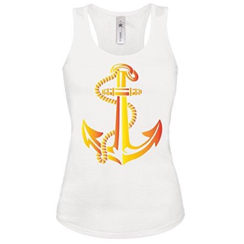 Anker Shirt Gr. S - XL Damen Tank-Top Weiss-Gold