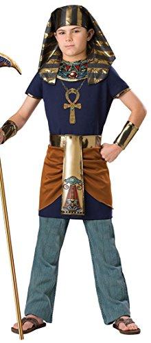 m Ägyptischer Pharao dunkelblau-gold 140/152 (10-12 Jahre) (ägyptische Kostüme Kinder)