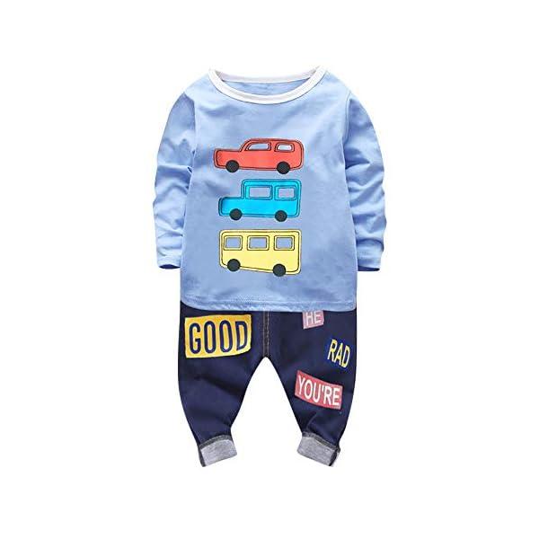 Camiseta Estampada Carros con Mangas largas para niño Bebé Tops Sudadera Pullover + Pantalones Conjunto de Ropa de niños 1