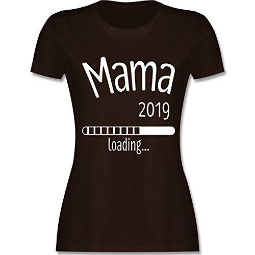 Schwangerschaft - Mama 2019 Loading - Damen T-Shirt Rundhals Braun
