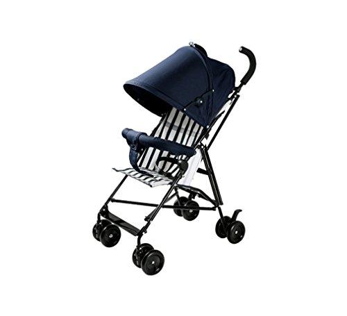 Baby Trolley Ultraportable Einfach Stoßfest Regenschirm Auto Kind Auto Falten Vierrad Carbon Stahlrahmen (dunkelblau)