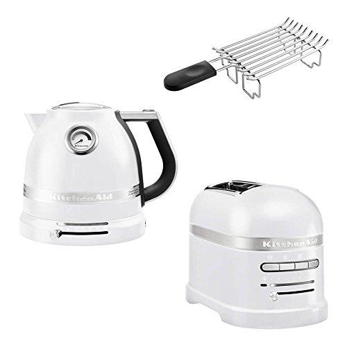 KitchenAid Artisan Frühstücks Set | incl. Wasserkocher 5KEK1522, 2 Scheiben Toaster 5KMT2204 und Brötchenaufsatz | für einen perfekten Start in den Tag! (Frosted Pearl)