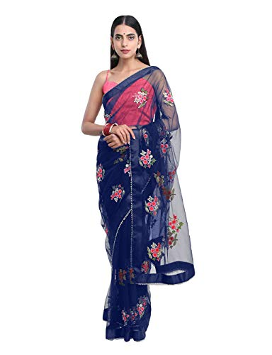 SilverStar Women\'s Blue Color Mono Net Embroidery Flower Thread Work Saree With Plain Banglori Silk Pink Color Blouse Piece