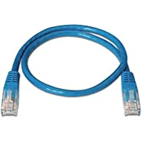 NANOCABLE 10.20.0400-BL - Cable de red Ethernet RJ45 Cat.6 UTP AWG24, 100% cobre, Azul, latiguillo de 0.5mts
