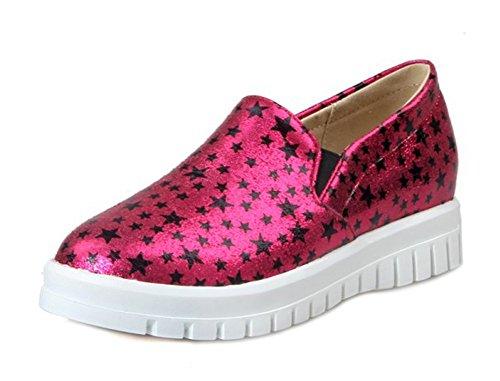 Aisun Damen Metallic Sterne Profilsohle Plateau Slipper Sneaker Pink