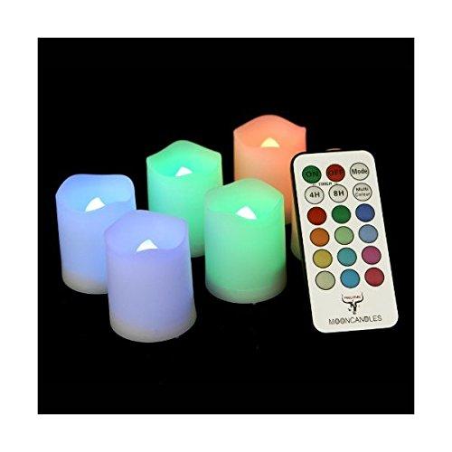 Frostfire Mooncandles - Juego de 6 velas de interior y exterior, cambian de color, con mando a distancia y temporizador