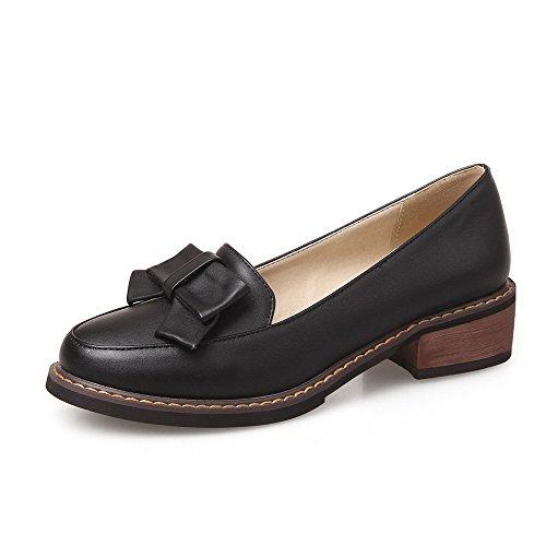 AgooLar Femme Rond à Talon Bas Matière Souple Couleur Unie Tire Chaussures Légeres Noir