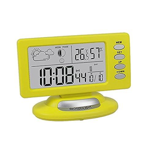 ESTGOUK Tabelle Wetterstation -Taktgeber Digital-LCD-Wecker mit LED-Hintergrundbeleuchtung Temperatur Feuchtigkeit Tag Datum Zeitanzeige Mute keine Strahlung am besten f¨¹r Baby-Raum (Gelb)