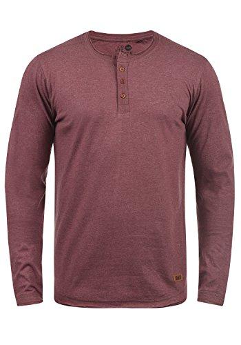 !Solid Taoki Herren Longsleeve Langarmshirt mit Grandad-Kragen aus hochwertiger Baumwollmischung, Größe:L, Farbe:Wine Red Melange (8985)