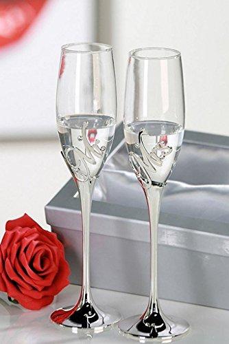 2er-Set Champagnerglas Mr. + Mrs. Hochzeit Heirat Sektgläser aus Metall / Glas Sektglas Champagnerglas