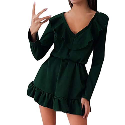 Elecenty Rüschenkleid Midikleid Damen,Reizvolle Frauen Swing-Kleid Tief V-Ausschnitt -