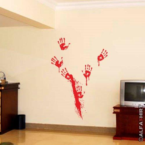 Blutspritzer Hände Metzger Blutig Halloween Aufdruck Kostüm Fun Humor Horror Messer Spaß -Wandschmuck Wandtattoo Aufkleber (rot 45x100cm) #6100