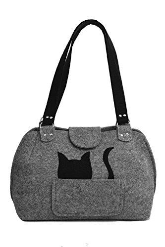 ROOGU Party Katze - Handmade [ extra leichte ] Handtasche Umhängetasche aus stabilisiertem Filz