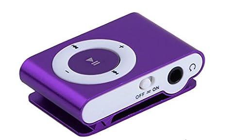 MOKE SD TF USB Support Mini Métal MP3 Support Micro jusqu'à carte 16GB Media Player Musique aléatoire pour Sports & Courir (NO SD Card) (pourpre)