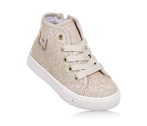 855c83b470ca09 Liu Jo - Sneaker Stringata Alta Beige, con Zip Laterale, in Tessuto  Ricamato,