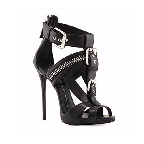 WYWQ Womens Stöckel Absatz Sandalen mit hohen Absätzen Mode Schuhe ein Wort Schnalle Party Bankett große Größe Schuhe Spitz weiß schwarz , 41 , black (Schuhe Zubehör Verkauf Womens)