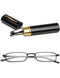 VEVISTARS Lesebrillen Herren Damen Tragbar Brillenhülle Metall Klassische Scharnier Schmal Leichte Stil Stärken lesebrille mit Etui Taschenclip Brillenetui