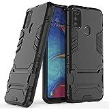 FanTing Samsung Galaxy M30s Cover,Hybrid Dual Layer TPU+PC Custodia, Durevole Manicotto Protettivo Antiurto,con Supporto per Cellulare,per Samsung Galaxy M30s-Nero