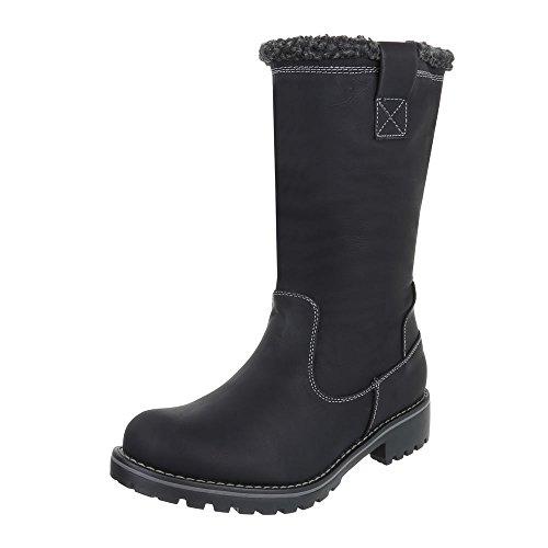 Komfortstiefel Damenschuhe Klassischer Stiefel Blockabsatz Gefütterte Reißverschluss Ital-Design Stiefel Schwarz