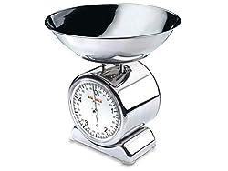 Soehnle Analoge Küchenwaage Silvia, aus Edelstahl mit abnehmbarer Wiegeschale, Haushaltswaage mit großer Vollsichtskala, Küchenwaage analog mit 5 kg Tragkraft