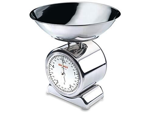 Soehnle Analoge Küchenwaage Silvia, aus Edelstahl mit abnehmbarer Wiegeschale, Haushaltswaage mit großer Vollsichtskala, Küchenwaage analog mit 5 kg Tragkraft 2009 Küche