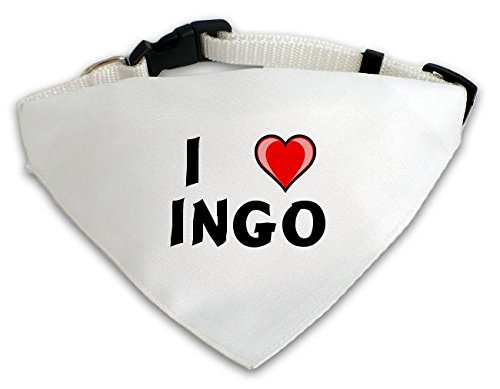 Preisvergleich Produktbild Personalisierter Weißer Hundschal mit Aufschrift Ich liebe Ingo (Vorname / Zuname / Spitzname)