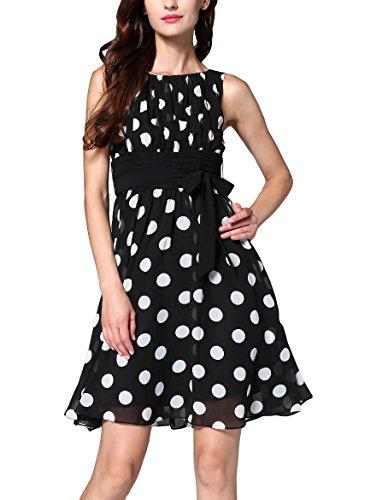MILEEO Damen Chiffon Kleid Knielang mit Plissee-Falten Ärmellos Cocktailkleid EU38(Herstellergröße:M) Schwarz, Punkt (Chiffon Hochzeit Kleider Ärmellos)