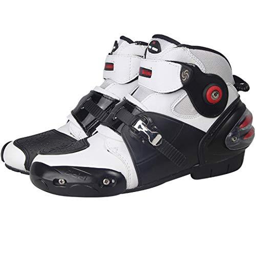 WERT Stivali da Moto in Pelle da Corsa Impermeabili protettivi da Motocross su Strada Scarponi Antinfortunistici con Cerniera Protettiva,White-46