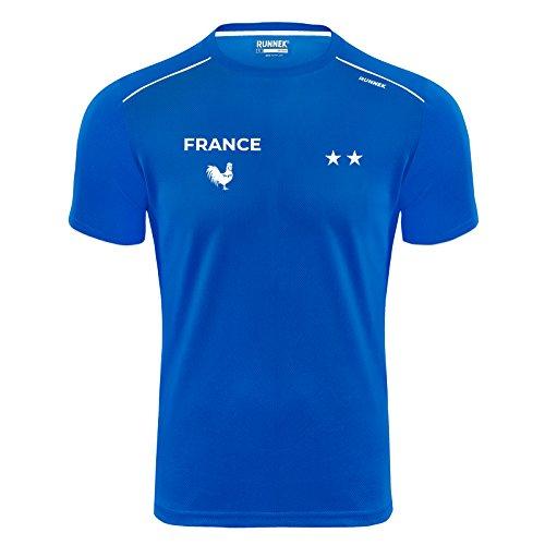 T-Shirt Technique - Maillot Running Fiers de Courir en Bleu - Équipe de France - Champions du Monde 2018-2 étoiles (L)