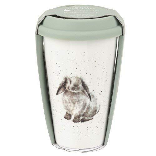Lapin Marron Blanc Vert Mug de voyage en céramique avec couvercle en silicone H15.5 cm X W9.5 cm