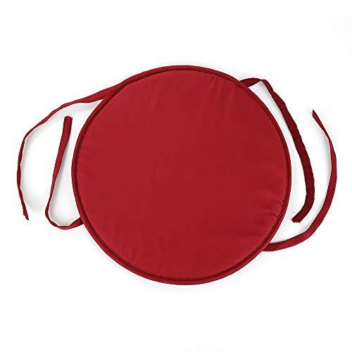 Caizhao cuscino rotondo per sedia da pranzo, antiscivolo, in memory foam, con lacci, per casa o ufficio red